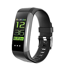QUMOX Smartband Presión Arterial Monitor de Ritmo Cardíaco Podómetro Fitness Tracker Negro