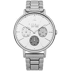 Fiorelli Women's Quartz Watch with White Dial Analogue Display and Silver Stainless Steel Bracelet FO002SM