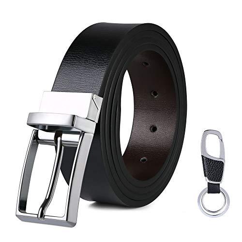 flintronic Cinturón Cuero Hombre, 125cm Cinturón con Reversible Correa de Hebilla de Pin Para Jeans, Trajes, Ropa Informal y Formal, Negro y Marrón(con llavero y caja de regalo)