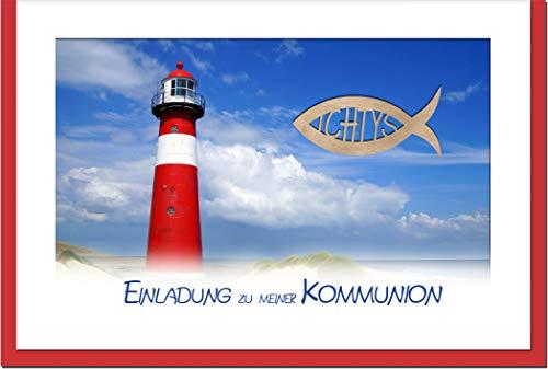 metALUm Einladungskarten KOMMUNION | Leuchtturm | 10 Karten | 1601011