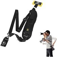 Yihya Quick Rapid Professional One Shoulder Camera Belt Sling Neck Camera Strap for Canon Nikon Sony SLR DSLR with Card Storage Pocket Black by yihengya