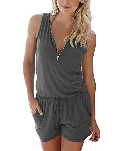 Cassiecy Jumpsuits Damen Kurz Sommer V-Ausschnitt Playsuit mit Reißverschluss Overalls Hose Elegant Strandkleidung(Grau,S )