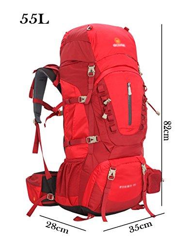 zaino trekking 55/65 / 75L Outdoor Alpinismo spalla degli uomini borsa e Donne Leisure Travel Ultra-light zaino multifunzionale Zaini da escursionismo ( Colore : B , dimensioni : 65L-38*30*85cm ) A