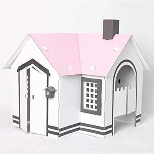 Casas de juguete Pequeña Casa De Cartón Blanco Puede Ser Ensamblada Casa De Juego Cartón Hecho A Mano DIY Juguetes Educativos para Niños Cartón Villa Regalo (Color : Blanco, Size : 60 * 57 * 50cm)