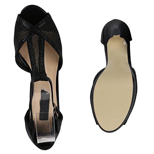 Damen Plateau Sandaletten | Strass High Heels | Metallic Sandalen Stiletto | Abendschuhe Spitze Schwarz Schwarz