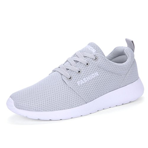 Men's Mesh Breathable Black Pink Running Shoes gray