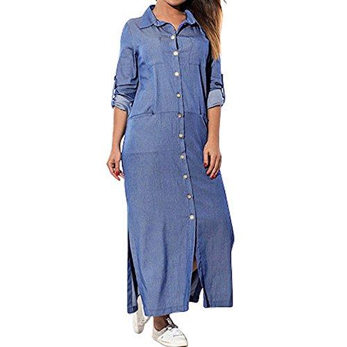 DAY.LIN Kleider Kleidung Damen Damen Tasche lose Kleid Damen Rundhalsausschnitt beiläufige Lange...