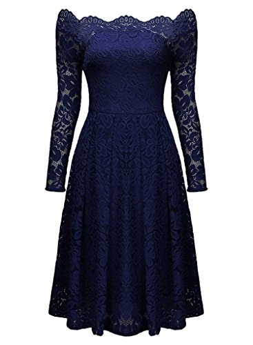 Damen Spitzenkleid mit Schwung 1950er, (Kostor) Empire Taille Vintage Off Schulter Cocktailkleid, Knielang Abendkleid Langarm/Retro/Pinup Rockabilly Sommerkleid 5 Farben (Gr.36-44) Blau