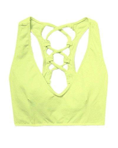 GGTFA Femmes de Base de Revenir les Lanières Sillonnent Court Gym Sports dEntraînement de Yoga soutien gorge Cultures Tops Vert