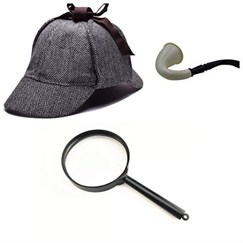 thematys Sherlock Holmes Deerstalker Mütze + Pfeife + Lupe Detektiv Kostüm-Set - perfekt für Fasching & Karneval - Einheitsgröße (Style 2) (Sherlock Hut Pfeife Und Holmes)