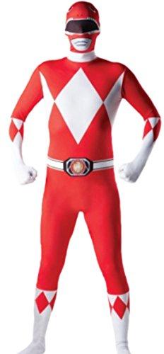 Halloweenia - Herren Karnevalskomplettkostüm Power Rangers Ganzkörperanzug, XL, Rot-Weiß (Grüne Power Ranger Halloween Kostüme Für Erwachsene)