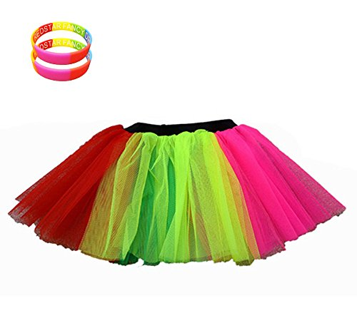 Multicoloured Tutu Skirt with 2 FREE Wristbands - Sizes 8 to 22