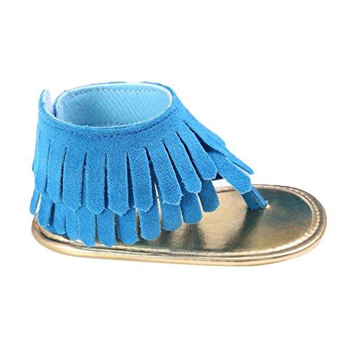 CHENGYANG Bébés Filles Casual Été PU Cuir Sandales Gland Anti-glissant Chaussures Bleu#1