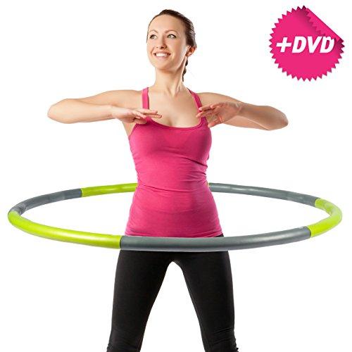 Hula Hoop Reifen 1,8 kg WEIGHT HOOP Schaumstoff inkl. DVD Farbe: grün&grau