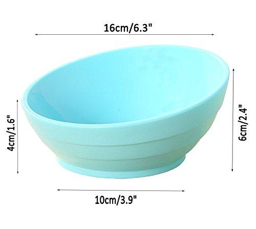 Da Jia Inc Tilt Kreative rutschfeste robuste Pet Schüssel Futternapf flach Face Cat Schüssel mit breitem Rand (Blau) - 4