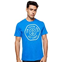 Tom Tailor Men's Slub with Print Regular Crew Neck Short Sleeve T-Shirt, Blue (Victory Blue), Medium