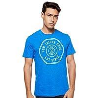 Tom Tailor Men's Slub with Print Regular Crew Neck Short Sleeve T-Shirt, Blue (Victory Blue), Small