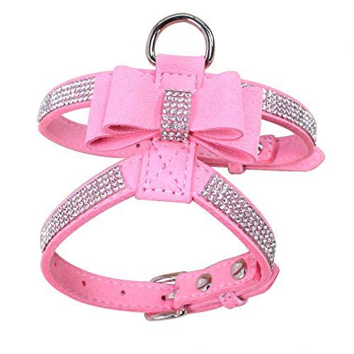 Jamory Hundegeschirr Geschirr Brustgeschirr Softgeschirr Laufgeschirr Hunde Glitzer Strass Zubehör verstellbar (M, Pink)