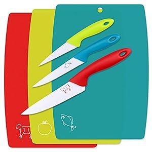WELLGRO 3-tlg. Schneidebretter Set inkl. 3 Messer - blau, rot, grün - Kunststoff/Metall - antibakterielle Küchenbretter
