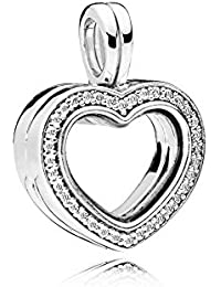 Pandora Moments Floating Heart Damen Medaillon Anhänger 925 Sterlingsilber