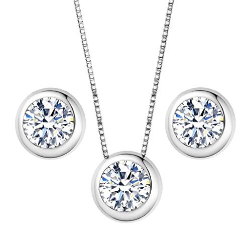 Clearine Damen 925 Sterling Silber Elegant Cubic Zirconia Rund Form Einfach Anhänger Halskette Pierced Ohrringe Schmuck Set Rhodium-Ton