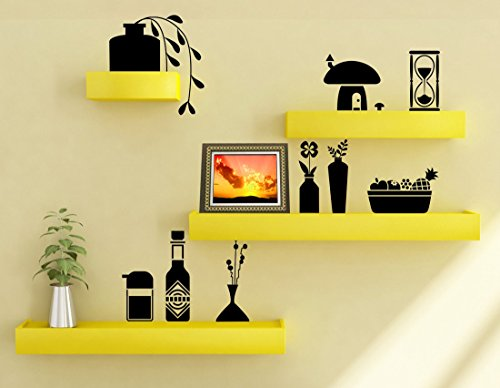 Artesia Yellow Wooden Wall Shelf Set Of Four/ Display Rack Shelf/Wall Shelves  available at amazon for Rs.999