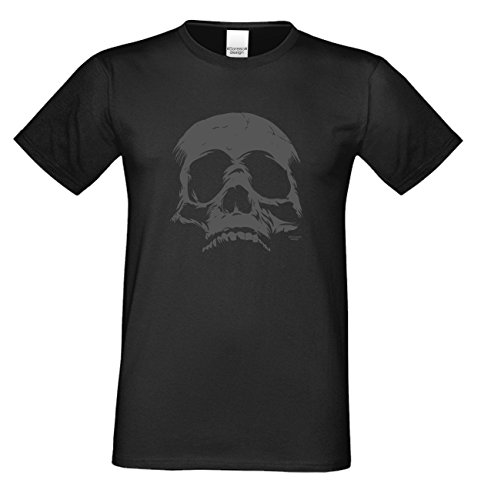 Herren-Halloween-Kostüm-Motiv-Fun-T-Shirt auch in Übergrößen 3XL 4XL 5XL Skull cooles Funny Shirt Party Outfit Kürbis Monster Gespenster Hexen Farbe: schwarz Schwarz