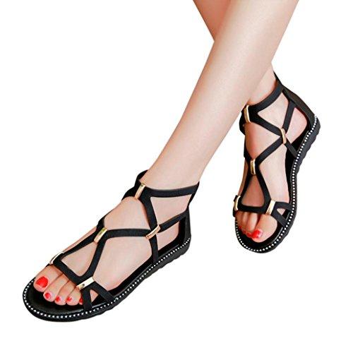 Uomogo® scarpe casual donna con fibbia piatta, sandali estivi romani, infradito per donne (asia 37, nero)