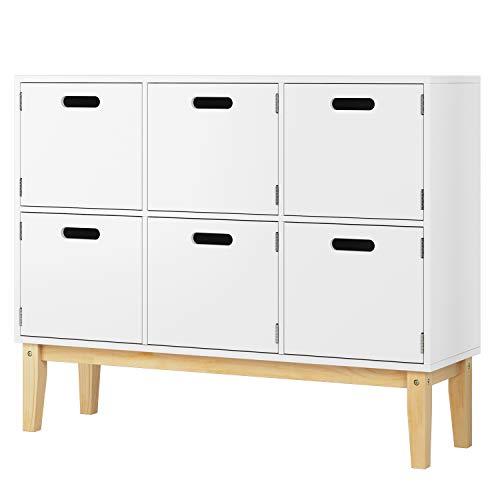 HOMECHO Kommode in weiß Holzkommode Kinderzimmer mit 6 Fächern Spielzeugschrank Aufbewahrung für Schlafzimmer 100*30*80cm