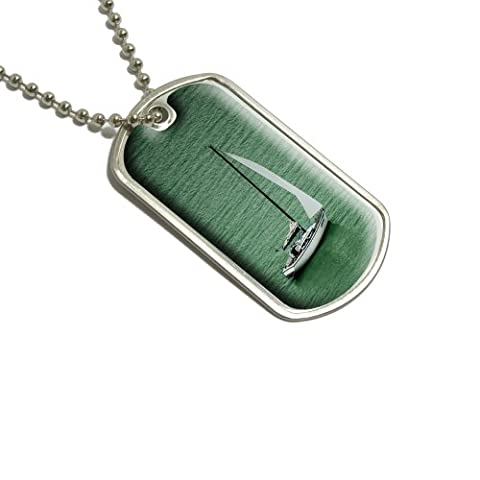Voile Voilier Océan–Vert militaire Dog Tag bagages Porte-clés