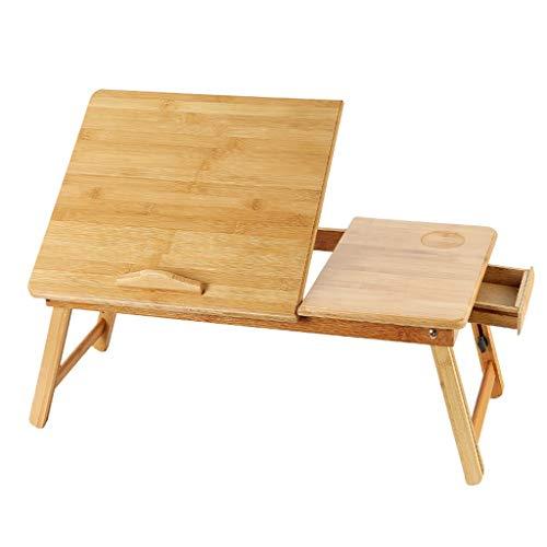 Yxsd Laptop-Schreibtisch aus Bambus und Holz, Faltbarer Kleiner Schreibtisch, Multifunktions-Artefakt-Heimaufzugstisch für das College-Schlafzimmer mit Schublade - Schubladen Nähen