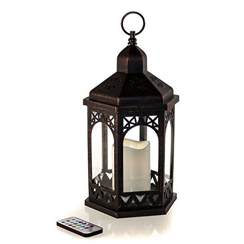 LED Laterne mit Fernbedienung,12 Farben einstellbar, 4 & 8 Std. Timer, 38 cm Höhe, Antik Design. Hängend oder stehend nutzbar, mit integrierter LED Kerze - Fernbedienung Laterne
