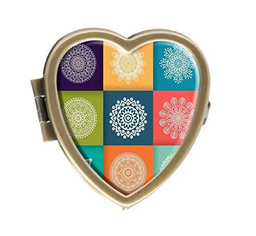 Cronriy Mandala Islam Arabisch Indische Ottomane Design Pillendose Box Western Medizin Tablettenhalter Deko Pillendose für Tasche oder Geldbörse