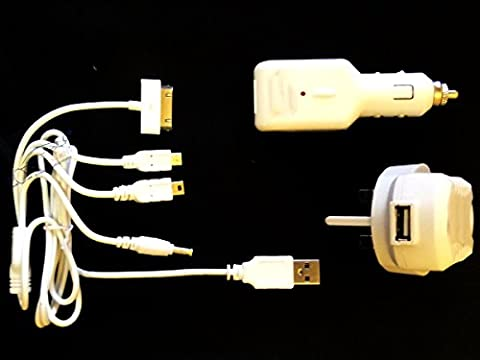 XtremeAuto® Universal, Multi Adapter Charging Kit for Mobile Phone + Electronic Devices. Includes 12V car plug + 240V Mains Adapter Plug.