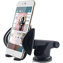 iVoler® Supporto Auto Smartphone, Regolabile Porta Cellulare Auto Universale 360 Gradi di Rotazione per Cruscotto Dashboard Parabrezza con Ventosa **Forte Sticky** per cellullare, GPS, iPhone 7 7 plus 6s Plus 6s 6 Plus 6 5s 5c 5 4s, Samsung Galaxy S6 Edge, Huawei, Xiaomi e altri - Nero
