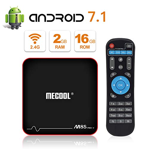 2018 Ultimo Modell MECOOL M8S PRO W Android 7.1.2 TV Box mit IR Fernbedienung, Android Schnittstelle, 2GB RAM/16 GB ROM und UHD 4K Internetbereiche