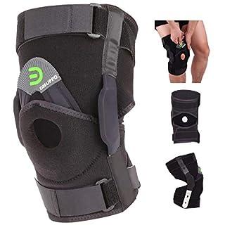 DISUPPO Hinged Knee Brace Support Women Men, Adjustable Open Patella Stabilizer for Sports Trauma, Sprains, Arthritis, ACL, Meniscus Tears, Ligament Injuries (Black, 2XL)