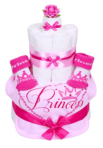 Trend Mama Windeltorte pink-rosa Mädchen mit Babysocken und rosa Lätzchen-Princess-