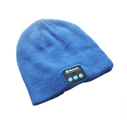 Price comparison product image Blue Warm Wireless Bluetooth Smart Beanie Headset Musical Knit Headphone Speaker Hat Speakerphone Cap, built-in Mic