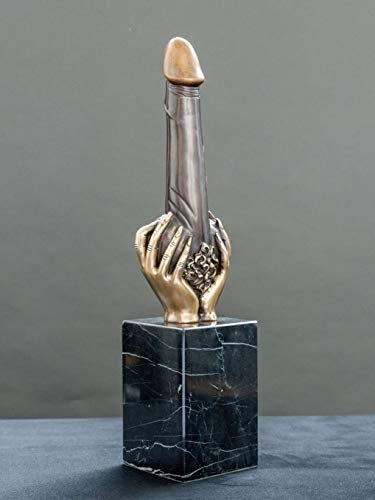 FINE ARTS Wohnkultur Skulptur,Statue,Bronze,Figur,Akt,Erotik,Phallus In Ladies Hand (Brown)