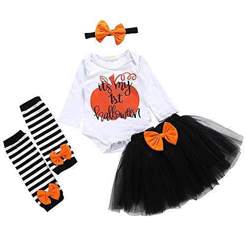Delisouls 4 Stück Satz Baby Girl Halloween Kostüm Anzug, Kuchen Smash Fotografie Outfits Kurzärmelig Strampler, Cosplay Overall Rock für Kleinkinder Baby - - Einfach Girl Kostüm Halloween