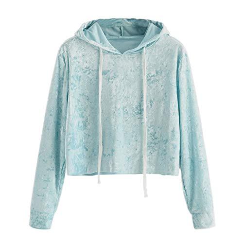 Cebbay Bluse Damen Long Sleeve Velvet Hoodie Shirt Sweatshirt mit Kapuze Pullover Tops
