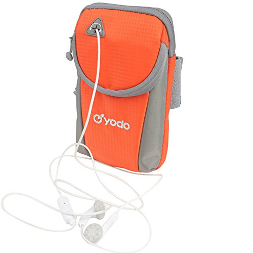 Yodo Running Sport Armband with Key Holder and Earphone Hole, 2 pouches Fits for iPhone 8/7/6S /6,Samsung Galaxy S7/S6/S5/S4/Note 4/3/2 ,iPod Touch for Gym Jogging Walking Biking Horseback Riding,Orange