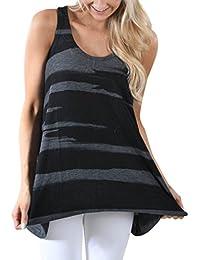 Camisas de mujer, Dragon868 Mujeres casual sin mangas de camuflaje recorte camisas tanque superior