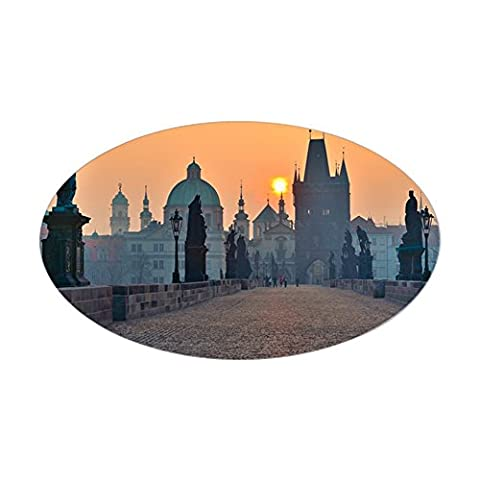CafePress - Sticker (Oval) - Sunrise Over Prague - Look From - Oval Bumper Sticker Car Decal