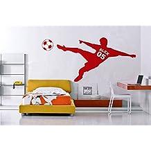 Nuevo diseño Adhesivo Pared Fútbol Nombre y número personalizado y el fútbol Ball-Childrens Room-You Elegir nombre y Color