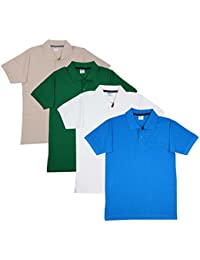 Fleximaa Men's Collar (POLO) T-Shirts With Pocket Combo Pack (Pack Of 4) - Turquoise Blue, White , Green & Biscuit...