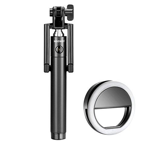 Neewer Mini LED Ring Light Selfie Kit: (1)36 LED Clip-on Selfie Cellphone Ring Light   (1)7``-31``/18-80cm U-Shape Self-portrait Monopod Extendable Selfie Stick with Built-in Bluetooth Remote Shutter