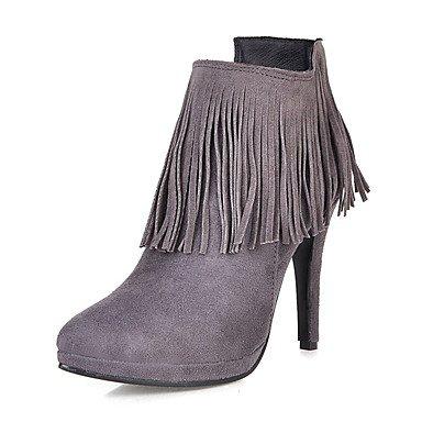 RTRY Scarpe Da Donna In Similpelle Di Moda Invernale Stivali Stivali Stiletto Heel Punta Babbucce/Stivaletti Zipper Nappa Per Abbigliamento Casual Mandorla US9.5-10 / EU41 / UK7.5-8 / CN42