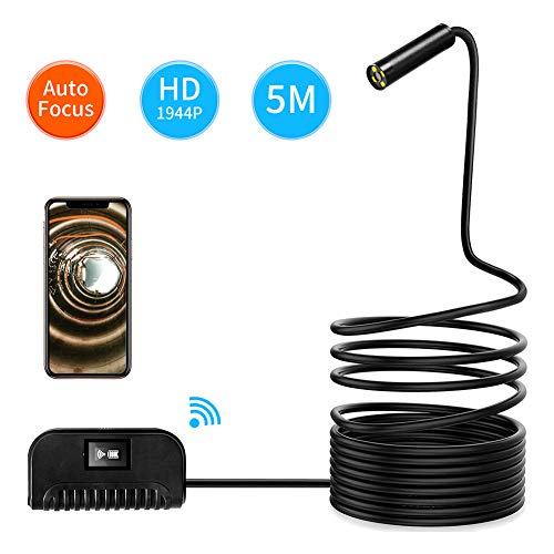 MIKLL WiFi Endoskopkamera Endoskop Handy 14.2mm Inspektionskamera, Halbsteife Kabel 5.0 Megapixel 1944P HD IP68 Wasserdichtes für Android,IOS,iPhone,Smartphone,Tablet